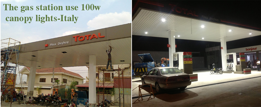 Gas Station Project Case With 100w Led Canopy Lights
